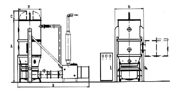 FBG Fluid-Bed Granulator drawing