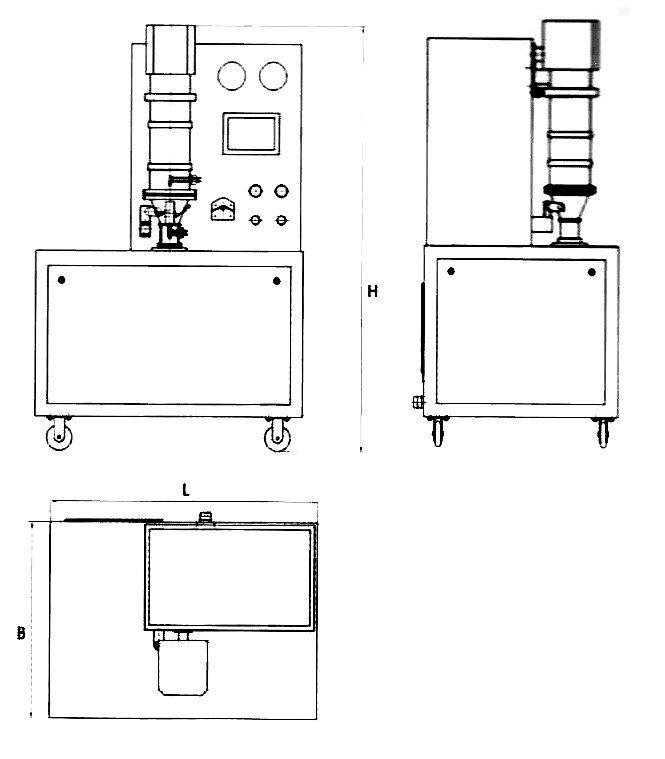 Mini FBG Laboratory fluid bed processor drawing