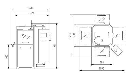 Tecnical drawing of PrimaTab machine