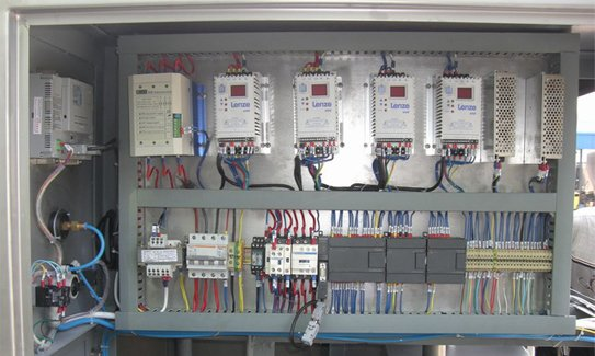 A section of electrical section for the PLC