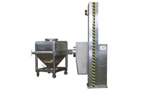 Hoisted bin blender machine