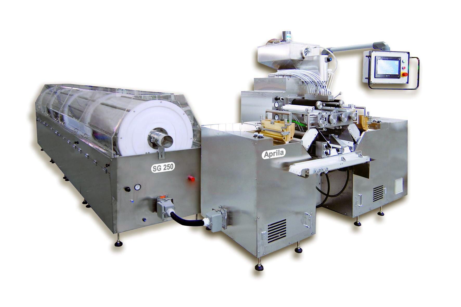 Soft encapsulation machine with tumble dryer